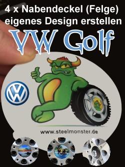Designe Deine Felgen für den VW Golf selber mit selbst erstelltem Motiv und Text für die Nabendeckel. Für Golf sieben bis Drei.