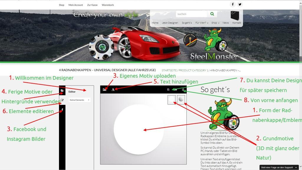 Design Konfigurator für Radnabenkappen und Felgen plus Emblem