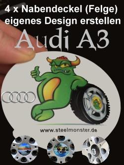 Designe Deine Felgen für den Audi A3/S3/RS3 selber mit selbst erstelltem Motiv und Text für die Nabendeckel