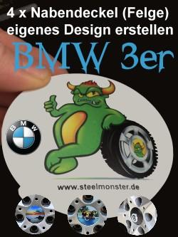 4 Felgen Kappen/Felgenabdeckungen/Radnabenabdeckungen für den BMW 3er im eigenen Design für die Felge erstellenen