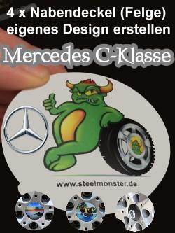 Felgen Tuning für den Mercedes C-Klasse - Selbst erstelltes Design der 4 Felgendeckel
