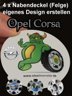 Felgen Tuning für den Opel Corsa - Selbst erstelltes Design der Felgendeckel
