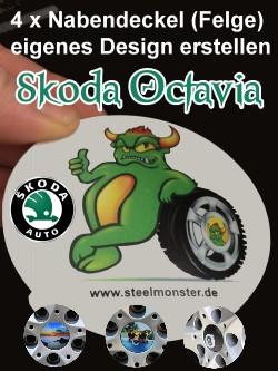 Designe Deine Felgen für den Skoda Octavia selber mit selbst erstelltem Bild/Logo oder Wappen + individuellem Text für die Radkappen - Natürlich wird ein kompletter 4er Satz geliefert.
