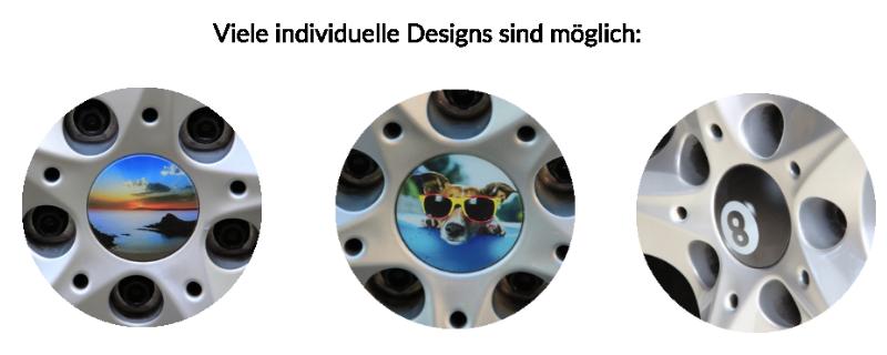Alle Motive sind möglich: Fussballvereine, Logos, Familienbilder etc. Radkappen Design für BMW 6er Gran Coupé Felgen